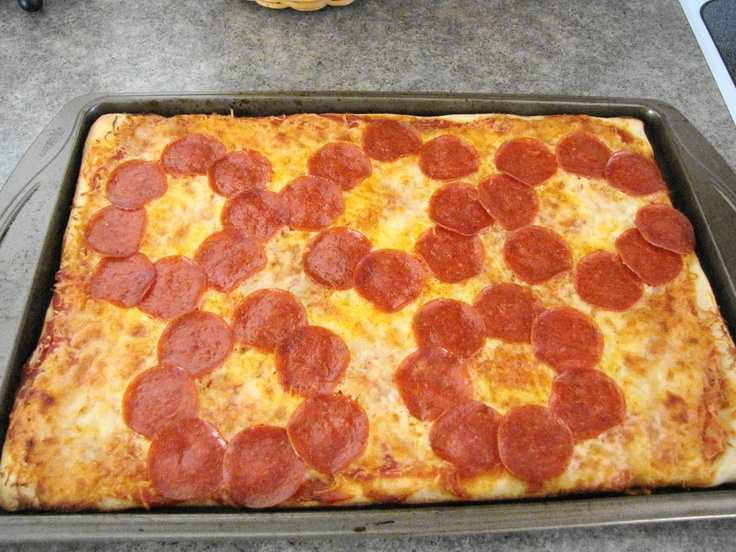 Olympic Rings Pizza - I took refrigerated dough, sauce, cheese, and pepperoni.  Way easy.  (jb)
