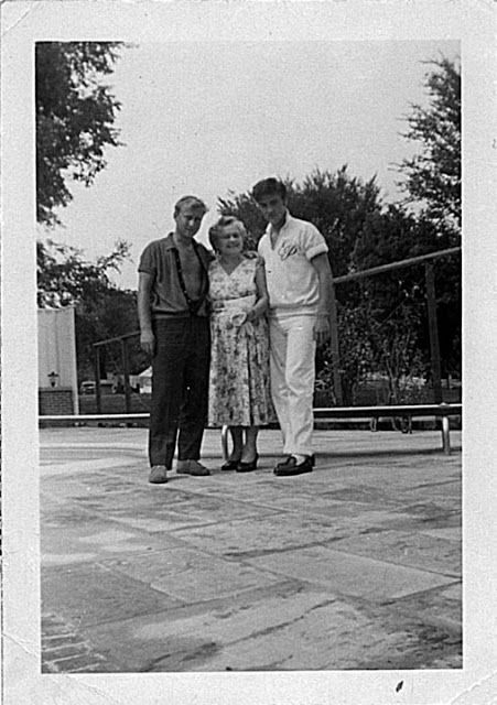 """Memphis, TN, Friday August 9, 1957: Actor Nick Adams (""""Rebel Without a Cause"""") and his mother, Catherine Adamshock (neé Kutz, April 17, 1010 – March 1995), visit Elvis and his parents at Graceland. This photo shows Nick Adams with his mom Catherine Adamshock and Elvis wearing his monogrammed shirt by the pool. See more at: https://allysunshine.wordpress.com/?s=Catherine+Adamshock"""