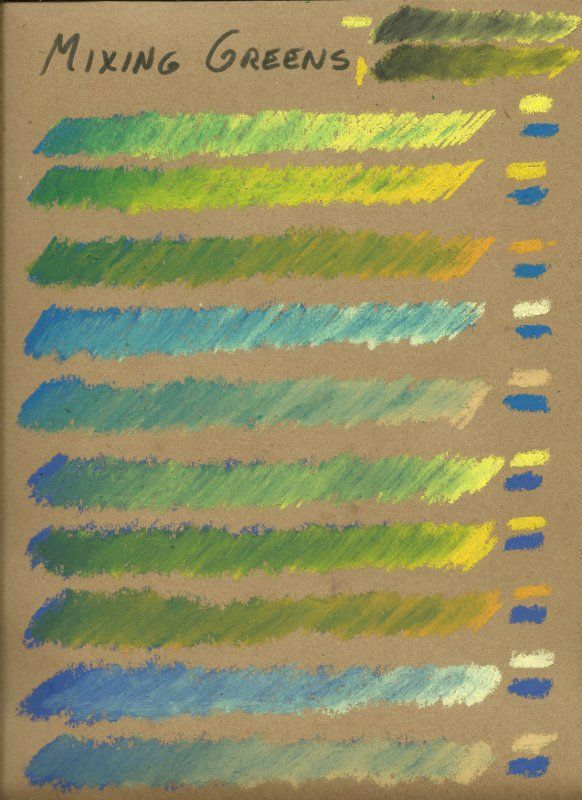 Mixing greens in oil pastels is tough if you want to keep them from being garish. Here are some tips and tests!