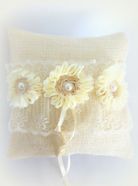 Burlap Ring Pillow, Farm Wedding, Vintage Inspired, Country Chic, Ivory Lace, Cream Pearls, Chiffon, Winter Spring Summer