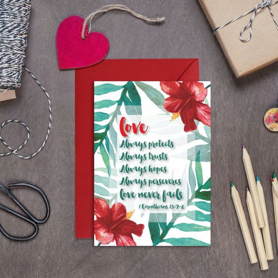 Love Always Protects Always Trusts Card  Anniversary Card