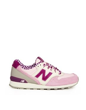 New Balance Pink Check Suede Mix 996 Sneakers