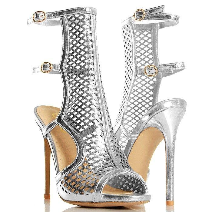Sandaly Srebrne Gladiatorki Siatka Odkryta Pieta Heels Peep Toe Shoes
