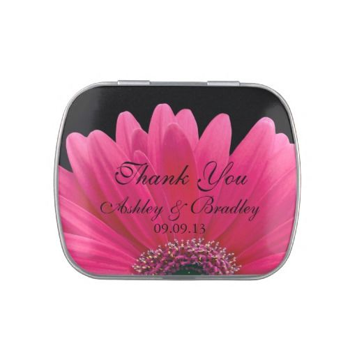 Pink Gerbera Daisy Personalized Wedding Candy Tin #wedding #favor #hotpink