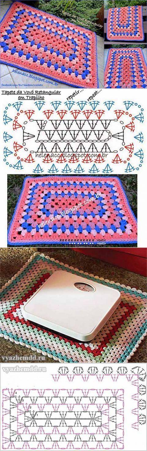 Pattern/Patron: crocheted rectangular rug / alfombra o tapete rectangular al crochet