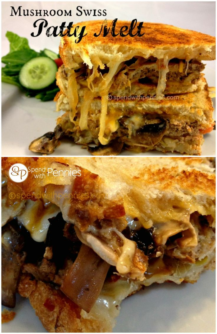 Mushroom Swiss Patty Melt!  This is delicious made fresh but also a wonderful way to use leftover meatloaf or hamburgers!