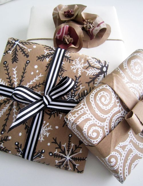 wrapping paper from brown paper, sharpies and whiteout.