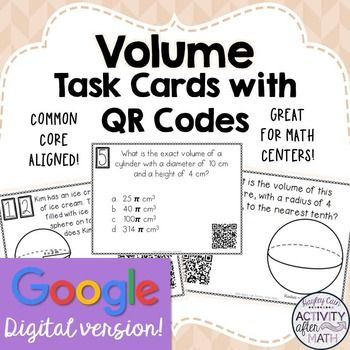 Volume Cylinders, Cones, &Spheres Task Cards... by Hayley Cain - Activity After Math | Teachers Pay Teachers
