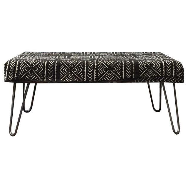 Image Of Black U0026 White Mud Cloth Industrial Bench