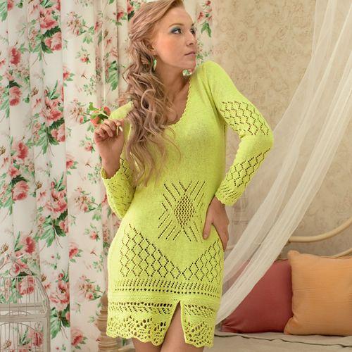 Ажурное платье лимонного цвета