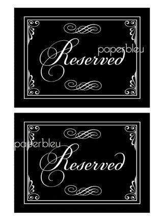 Weddings Parties Reserved Table Signs By Paperbleudigitals 6 50