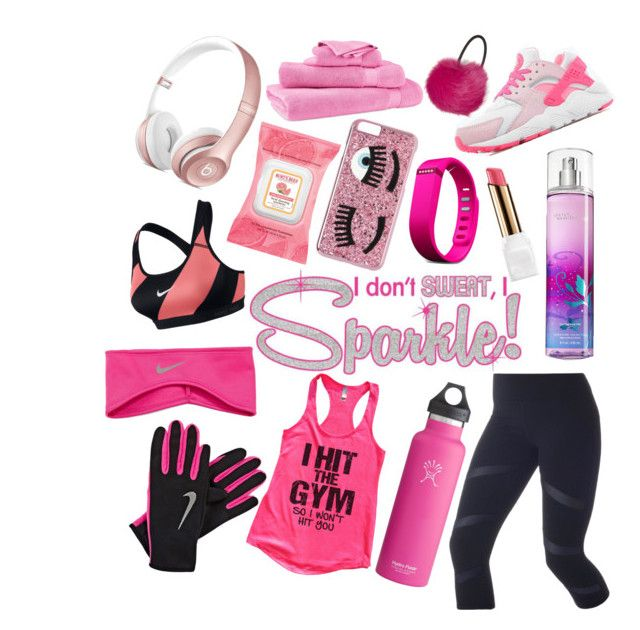 """""""Sparkle while you workout"""" by pulseofthematter ❤ liked on Polyvore featuring NIKE, Lorna Jane, Lauren Ralph Lauren, Burt's Bees, Chiara Ferragni, Fitbit, Guerlain and Topshop"""