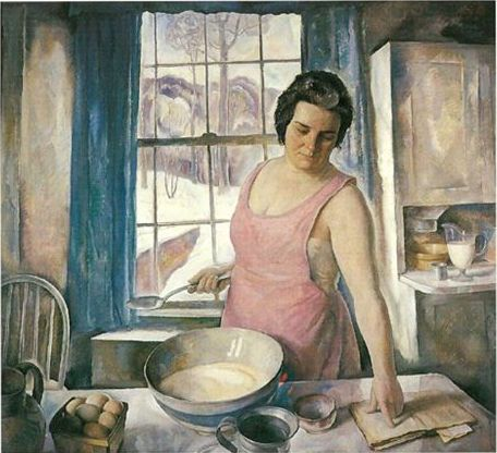 "1930 ~ ""The Artist's Wife in the Kitchen"" by Newell Convers Wyeth, aka N.C. Wyeth (1882-1945), American Artist & Illustrator ...."