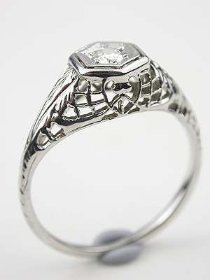 Filigree And Diamond Antique Engagement Ring Rg 3393 In 2018