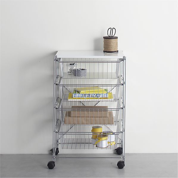 MAX Chrome 4-Drawer Cart with White Top  | Crate and Barrel