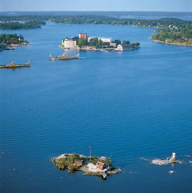 Vaxholm`s Kastell near Stockholm - Photo from helicopter