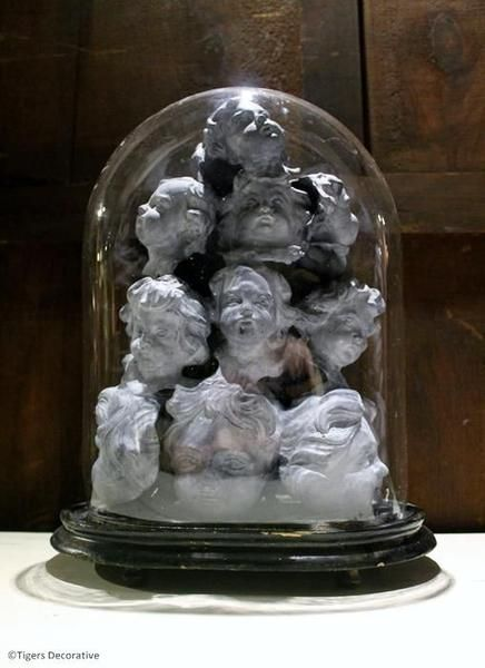 Victorian Glass Dome With Cherub Heads, Vintage Dome, Available @ Tigers Decorative