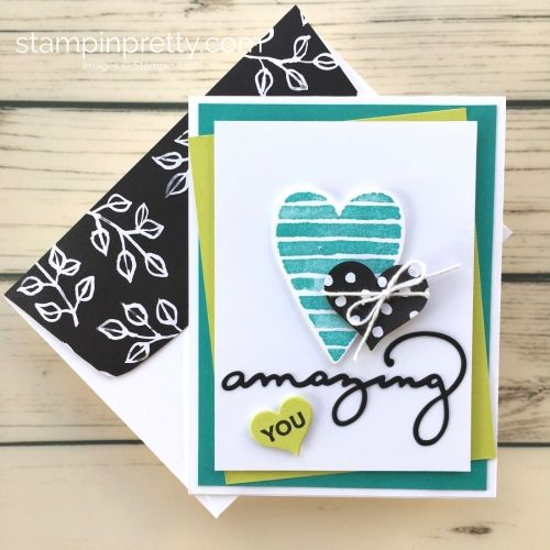 Learn how to create a simple Valentine's Day card using Stampin Up Heart Happiness - Mary Fish StampinUp Petal Passion