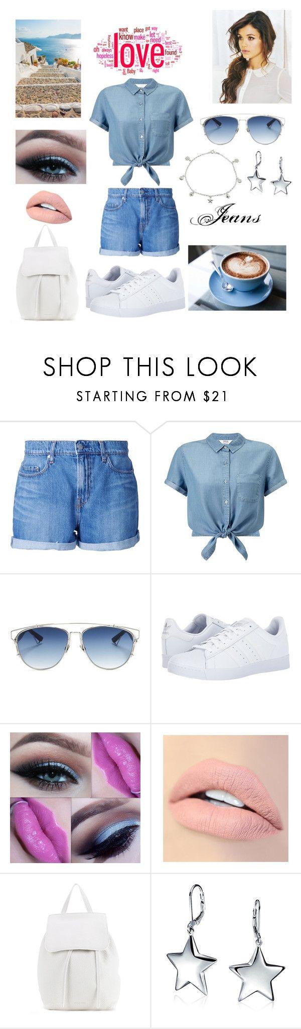 """short jeans"" by blerina-ylli on Polyvore featuring Nobody Denim, Miss Selfridge, Christian Dior, adidas, Jouer, Mansur Gavriel and Giani Bernini"
