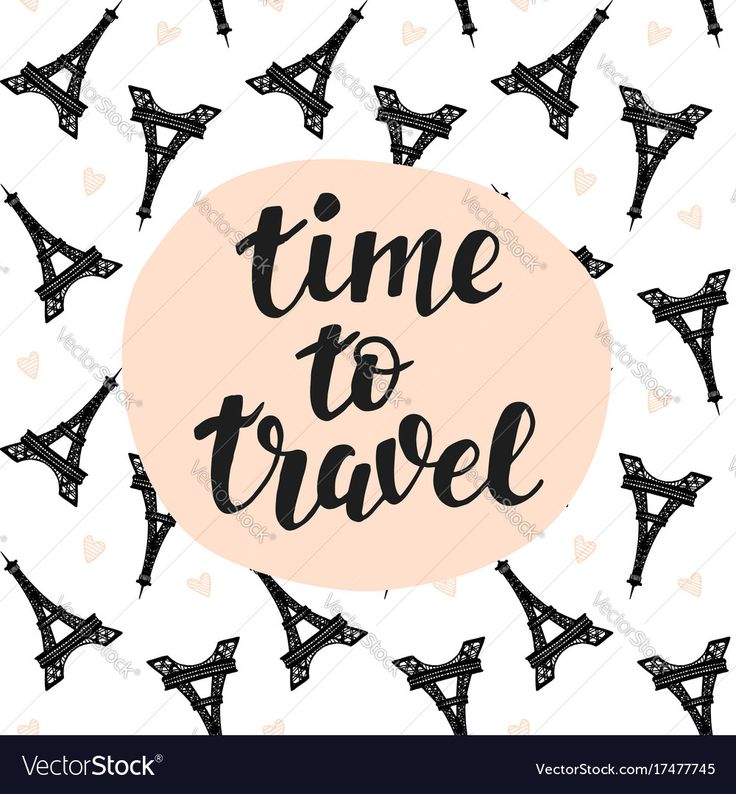 Time To Travel Hand lettering, Eiffel towers pattern background, inspiration quotes. Trendy typography design for cards, posters, banners. Tourism concept, tour agency advertising. Modern calligraphy. Download a Free Preview or High Quality Adobe Illustrator Ai, EPS, PDF and High Resolution JPEG versions.