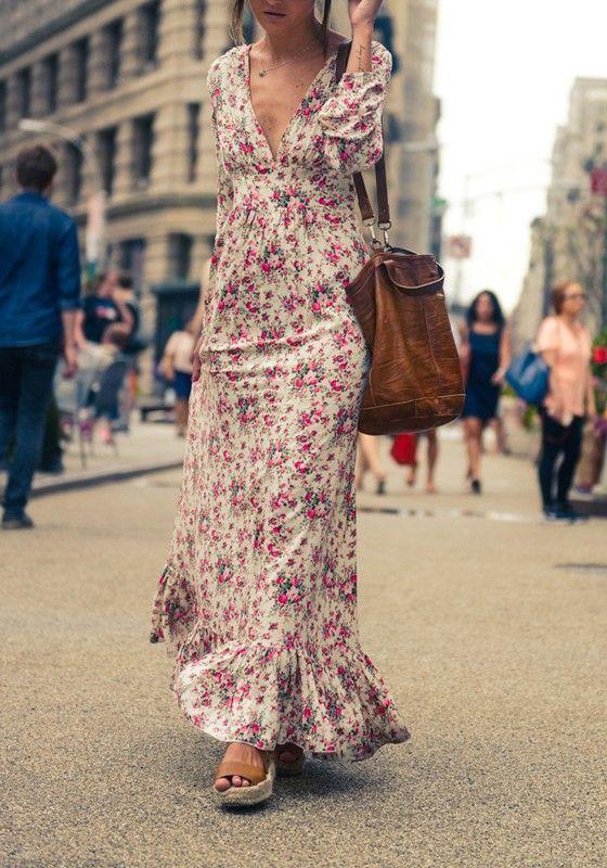 8aa2ee2a30 Multicolor Bohemian Floral Print Ruffle Deep V-neck Floor Length Boho Maxi  Dress - Maxi Dresses - Dresses