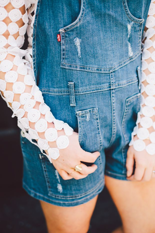 A cute way to style overalls
