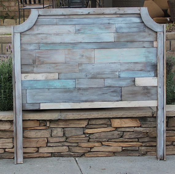 Rustic Wood Grace headboard. Need a different size let me know I LOVE custom orders.  Customer can pick any stain or paint. This finish is a Beach Wash finish... It has stained pieces with a wash of grey, white, blue and turquoise. Customer will need to attach to own bedframe We do not use pallets for this headboard. Wood piece sizes very in each headboard. THis is a very rustic headboard  Convo me your zip code please so I can get you shipping price for door to door.  Local to OC or So…