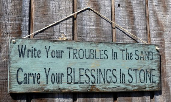 """SALE  Beach Decor Hanging Handpainted Sign, """"Write Your Troubles in the Sand, Carve Your Blessings in Stone"""""""