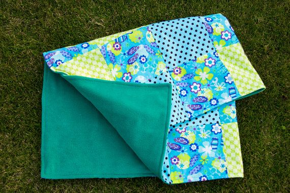 36x50 Baby Quilt Fleece Lined Patchwork Floral