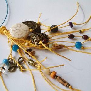 Bijuterii handmade Colier handmade cu sarma turcoaz, snur galben si margele din lemn, sticla,lava,turcoaz