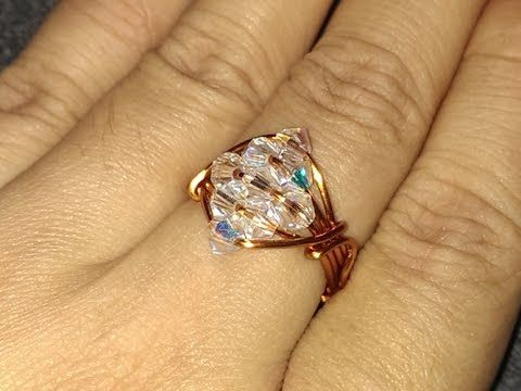How to make sparkling crystal ring -  Wire jewelery