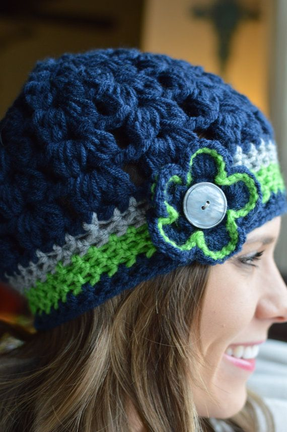 Adult Seahawks Super Bowl Fan Woman Bubble Hat Crochet Flower Shell Butoon 12th Man Chunky Beanie Child Toddler Hats on Etsy, $20.00