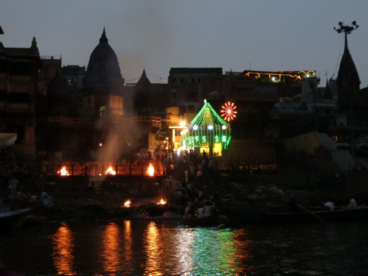 Varanasi on the Ganges where the ghats are. The funeral pyres burn 24/7 - there were nine when we where there in the early eveniing