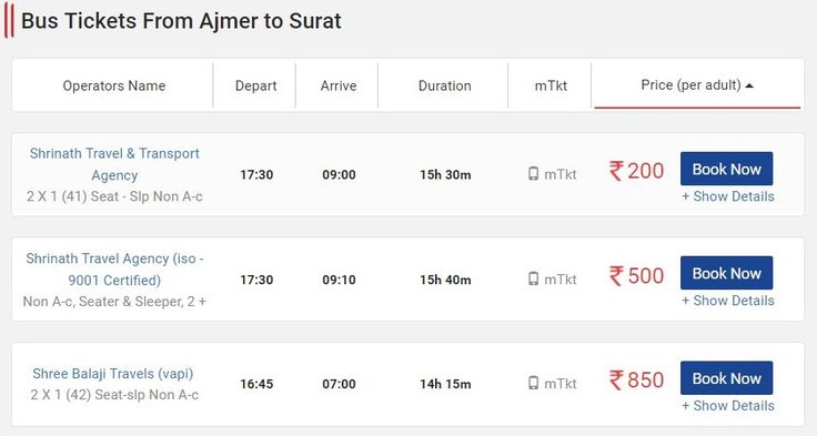 Get Ajmer to Surat Bus Tickets Volvo Booking Non AC Seater, Ajmer to Surat Sleeper Online Fares, Distance, Boarding Point, Timings & Routes.