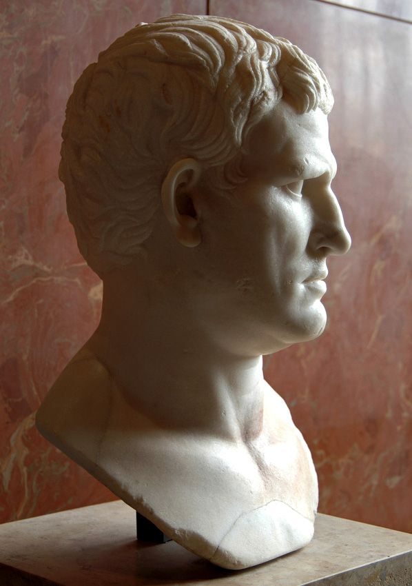 Marcus Vipsanius Agrippa, statesman and general, prominent citizen, life-long friend and son-in-law of Augustus - profile, Roman bust (marble), 1st century BC, (Musée du Louvre, Paris).