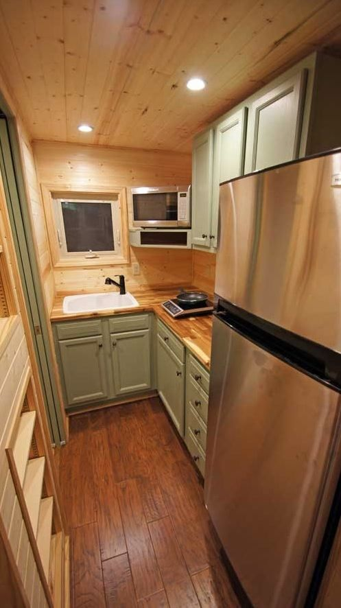 Unusual That A Kitchen With Full Size Fridge Would Have Single Induction Cooking Top Tiny House On WheelsTiny