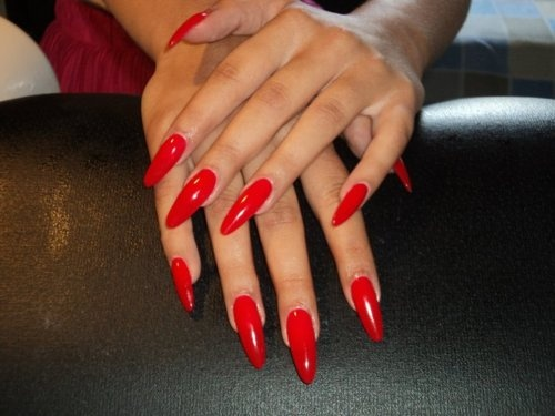 red stiletto nails Someone please talk me out of these..