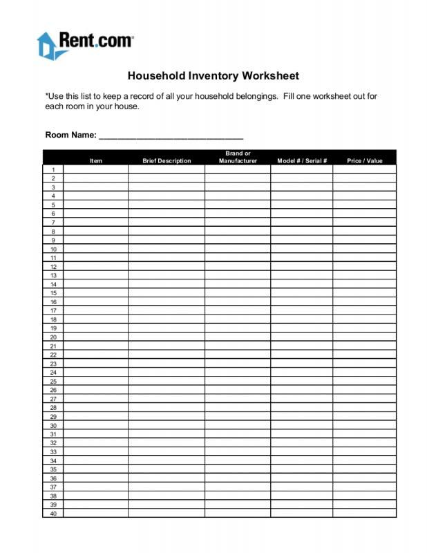 Moving Inventory List Inventory List List Template