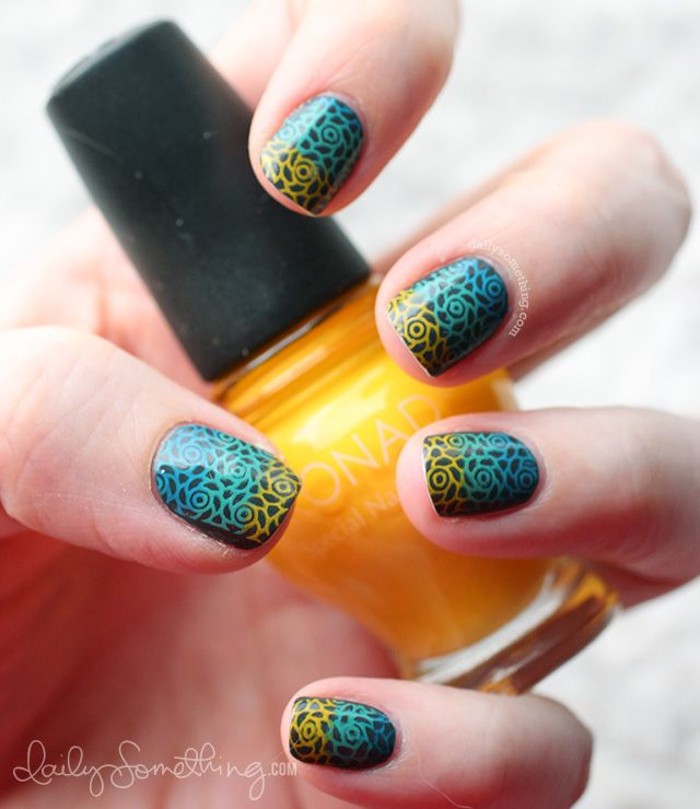 Three Color Nail Stamping Manicure