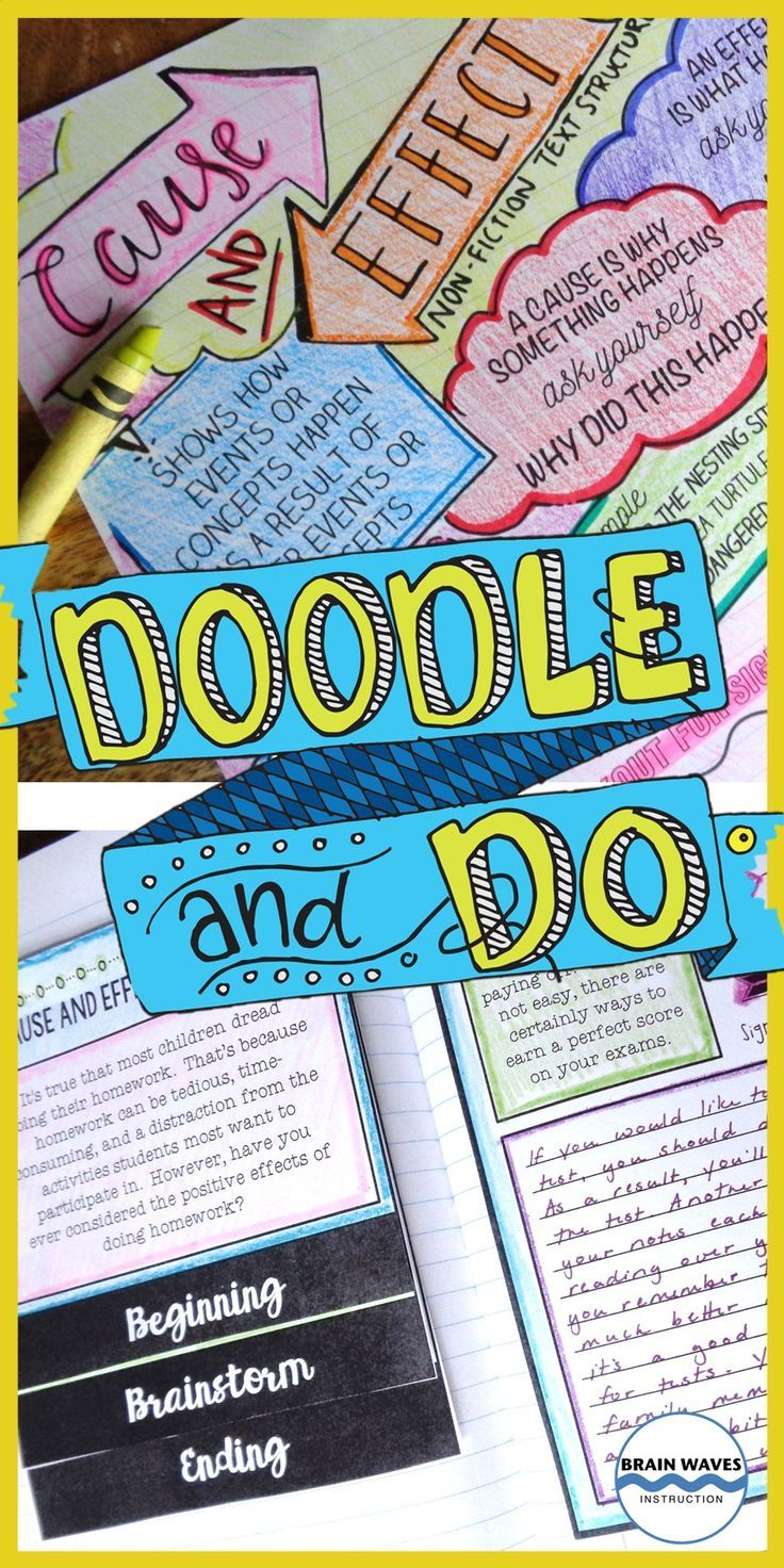 """Learning about nonfiction text structures has never been more fun!  With this Doodle and Do resource, students complete Doodle Notes on the Cause and Effect Nonfiction Text Structure.  Then, they """"do"""" 6 engaging activities to showcase their learning!  Super fun!"""