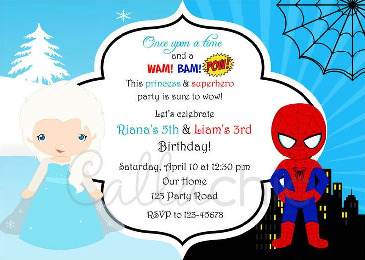 Twin / joint birthday party invitation in Elsa (Frozen) and Spiderman inspired theme. Princess and Superheroes.