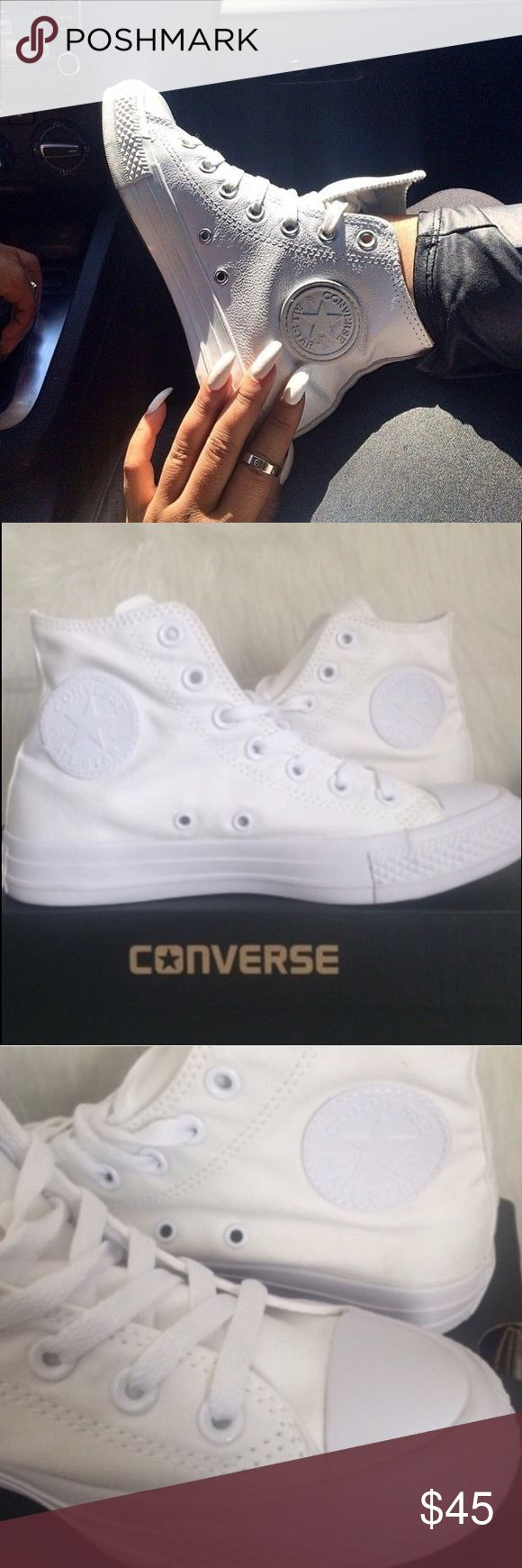 FLASH SALE  CONVERSE WOMENS SIZE 7.5 ALL WHITE Brand new in box. Womens size 7.5. All white. Converse Shoes Sneakers