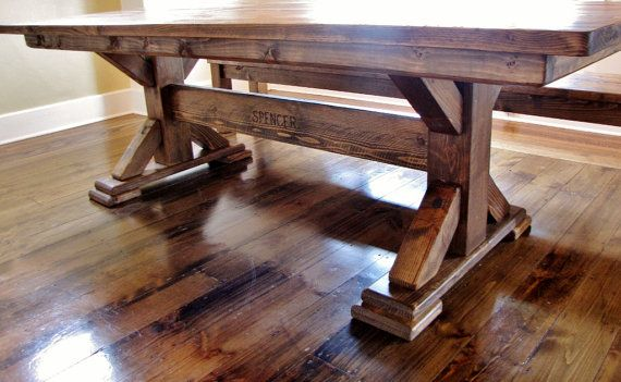 Hey i found this really awesome etsy listing at https for Post trestle farm table plans