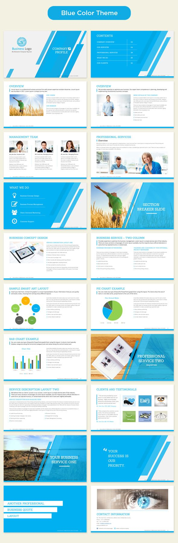 company profile powerpoint template blue preview
