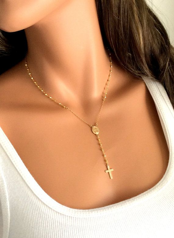 Gold Rosary Necklace Pyrite Gemstone 14kt by divinitycollection, $85.00