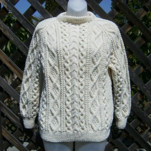 Handknit aran sweater for men or women