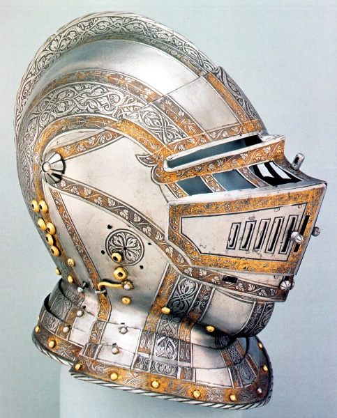 Armet of Phillip II of Habsburg, Royal Armoury, Madrid, c. 1544. Wiki for Philip II.