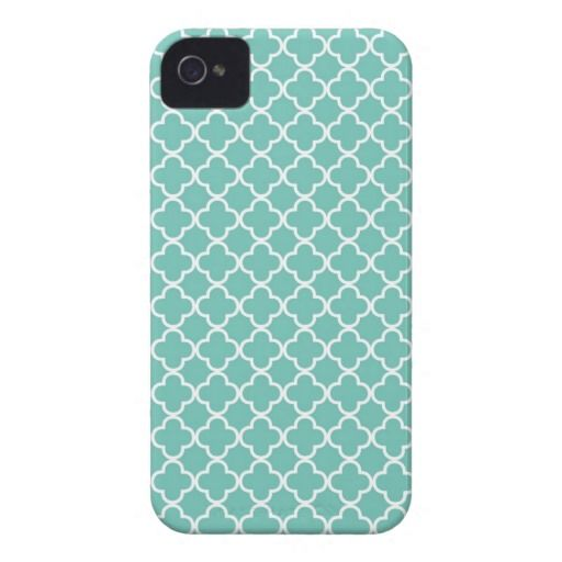 Aqua Mint Quatrefoil Pattern Case-Mate iPhone 4 Cases $44.95