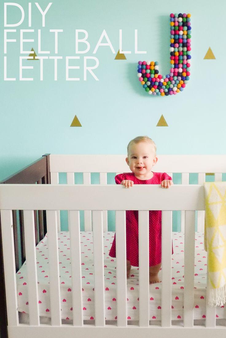 DIY Felt Ball Letter - adorable nursery or kids room wall art idea!
