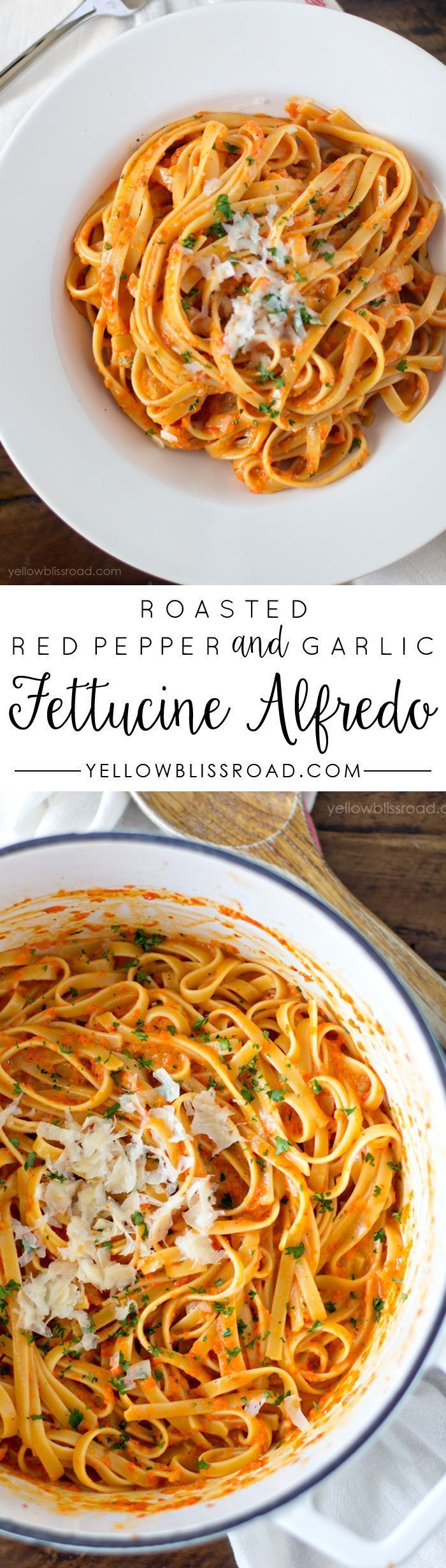 Roasted Red Pepper and Garlic Fettuccine Alfredo. Yummy and Easy dinner recipe that will please a crowd.
